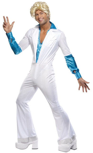 1970'S DISCO MAN COSTUME WHITE & BLUE - MEDIUM