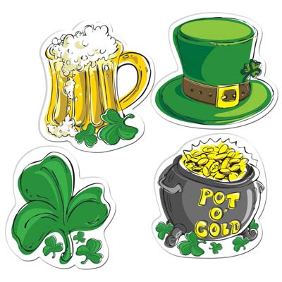 ST PATRICK'S DAY CUT OUTS - SET OF 4