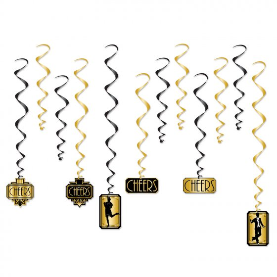 1920'S GREAT GATSBY ASSORTED HANGING WHIRLS - PACK OF 12