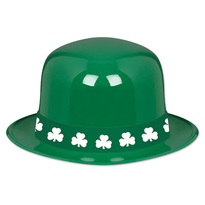 ST PATRICK'S DAY GREEN BOWLER HAT WITH SHAMROCK BAND - PACK 12