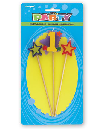 1ST BIRTHDAY PARTY CANDLE - 3 MULTI COLOURED PICK SET