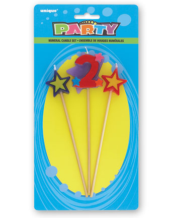 2ND BIRTHDAY PARTY CANDLE - 3 MULTI COLOURED PICK SET
