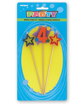 4TH BIRTHDAY PARTY CANDLE - 3 MULTI COLOURED PICK SET