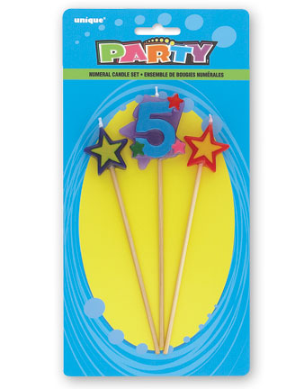 5TH BIRTHDAY PARTY CANDLE MULTI COLOURED PICKS