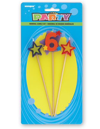 6TH BIRTHDAY PARTY CANDLE MULTI COLOURED PICKS