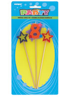 8TH BIRTHDAY PARTY CANDLE MULTI COLOURED PICKS