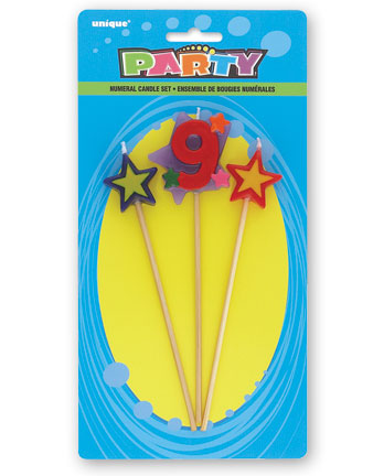9TH BIRTHDAY PARTY CANDLE MULTI COLOURED PICK