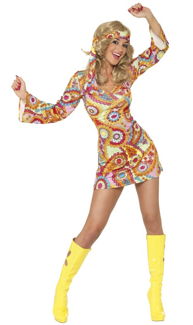 1960'S HIPPIE CHICK FANCY DRESS COSTUME - SMALL
