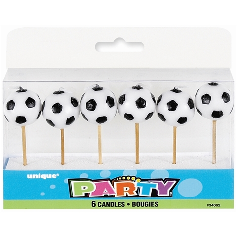 SOCCER PICK CANDLES PACK 6