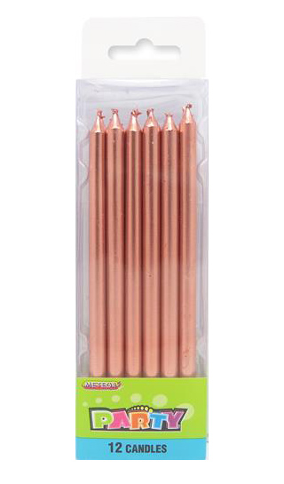 ROSE GOLD METALLIC TALL SLIM CANDLES - PACK OF 12