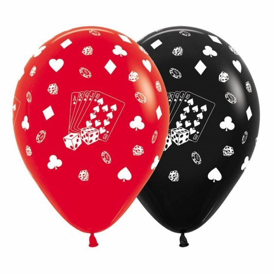 BALLOONS LATEX - CARDS, SUITES & DICE PACK 12