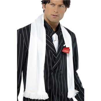 GANGSTER / 1920'S STYLE WHITE SCARF WITH FRINGE