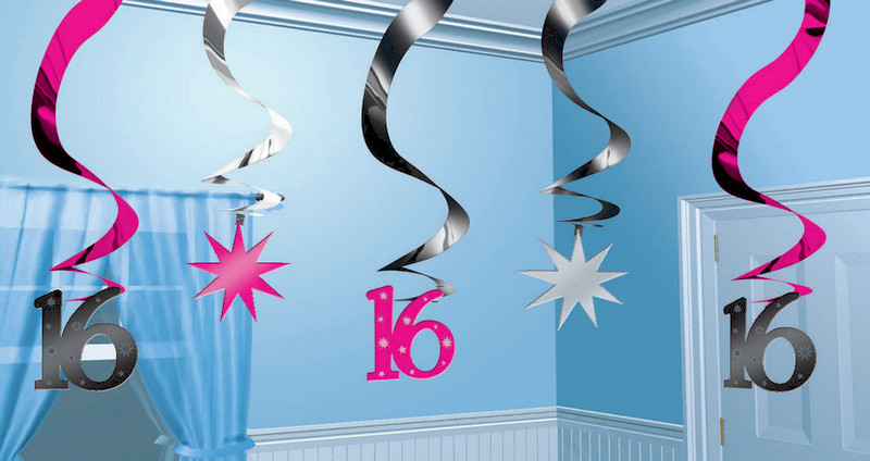 16TH BIRTHDAY HANGING SWIRLS - PACK OF 5