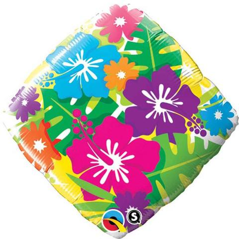 FOIL BALLOON - TROPICAL HIBISCUS FLOWERS & PALM LEAF