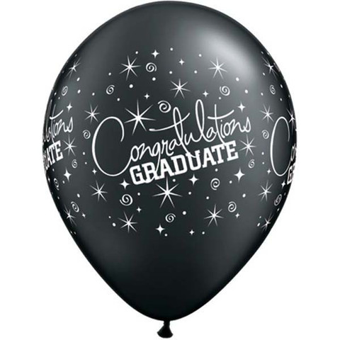 BALLOONS LATEX - CONGRATULATIONS GRADUATE BLACK & SILVER PACK 25
