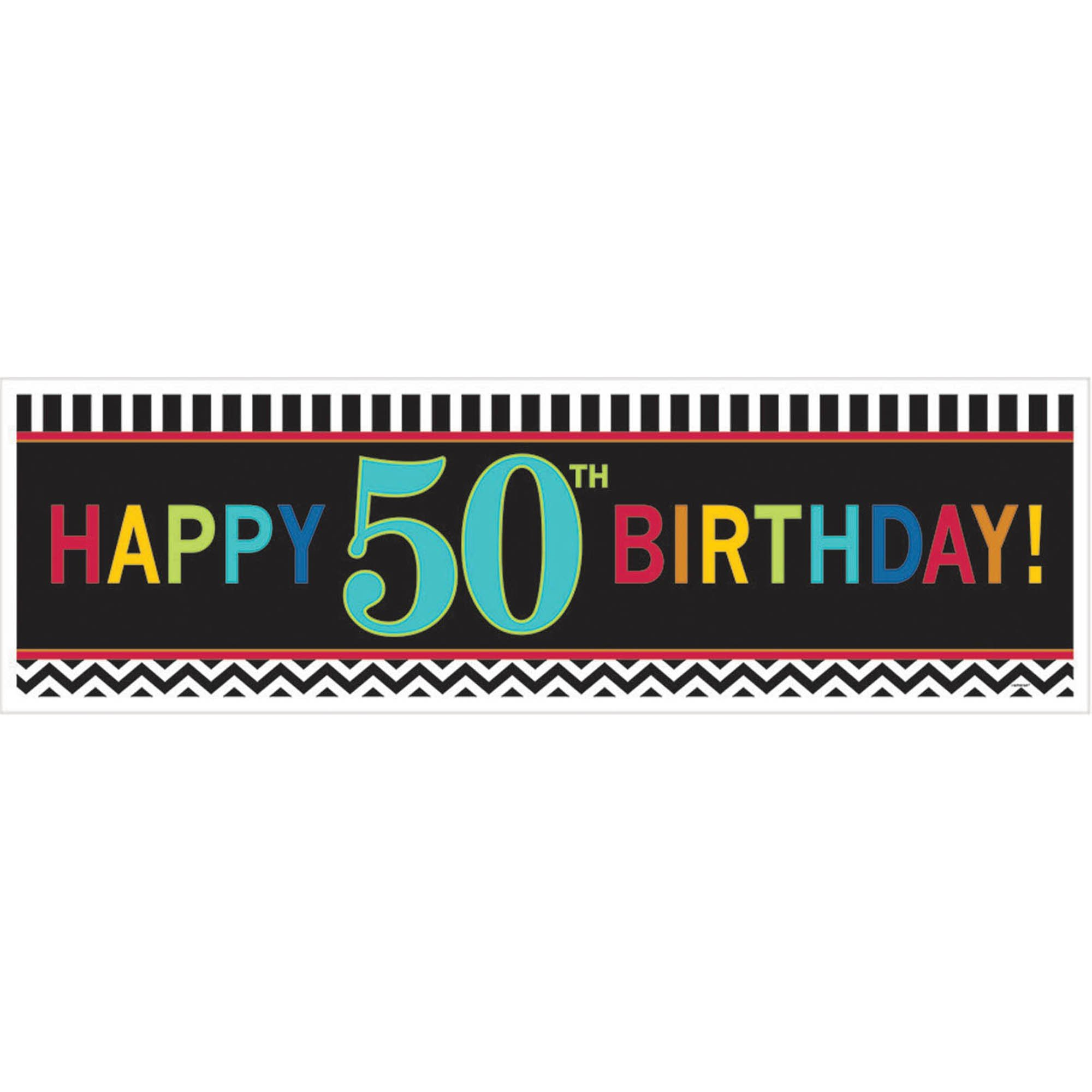 50TH BIRTHDAY GIANT BANNER - CHEVRON DESIGN