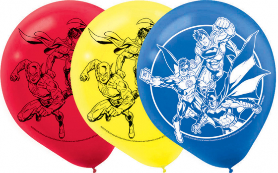 BALLOONS LATEX - JUSTICE LEAGUE PACK OF 6