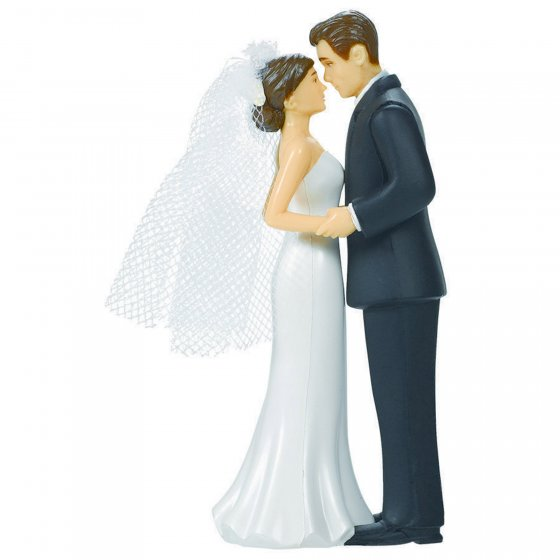 WEDDING CAKE TOPPER - BROWN HAIRED BRIDE & GROOM