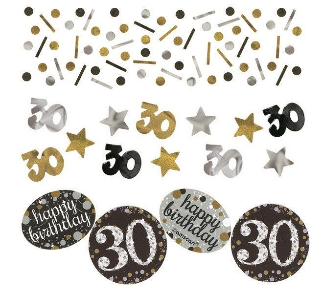 30TH BIRTHDAY SCATTERS SPARKLING - SILVER, GOLD & BLACK