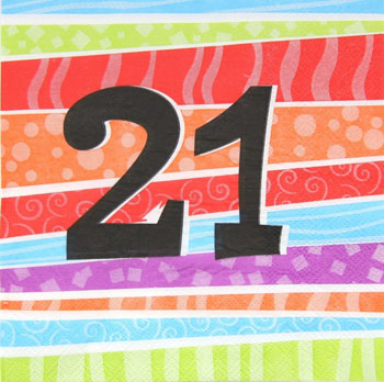21ST BIRTHDAY PARTY NAPKINS COLOURFUL STRIPES