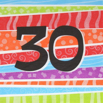 30TH BIRTHDAY PARTY NAPKINS COLOURFUL STRIPES