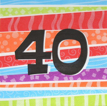 40TH BIRTHDAY PARTY NAPKINS COLOURFUL STRIPES