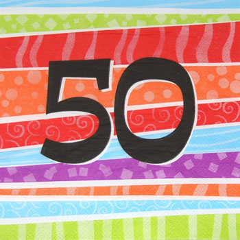 50TH BIRTHDAY PARTY NAPKINS COLOURFUL STRIPES