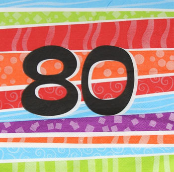 80TH BIRTHDAY PARTY NAPKINS COLOURFUL STRIPES