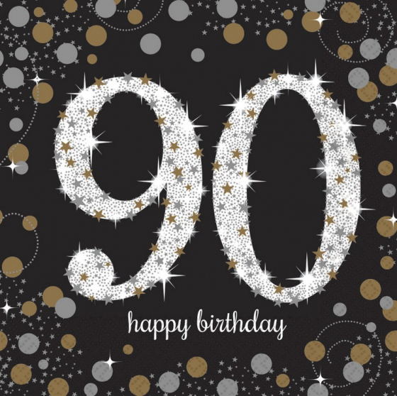 90TH BIRTHDAY NAPKINS SPARKLING CELEBRATION - LUNCH PACK OF 16
