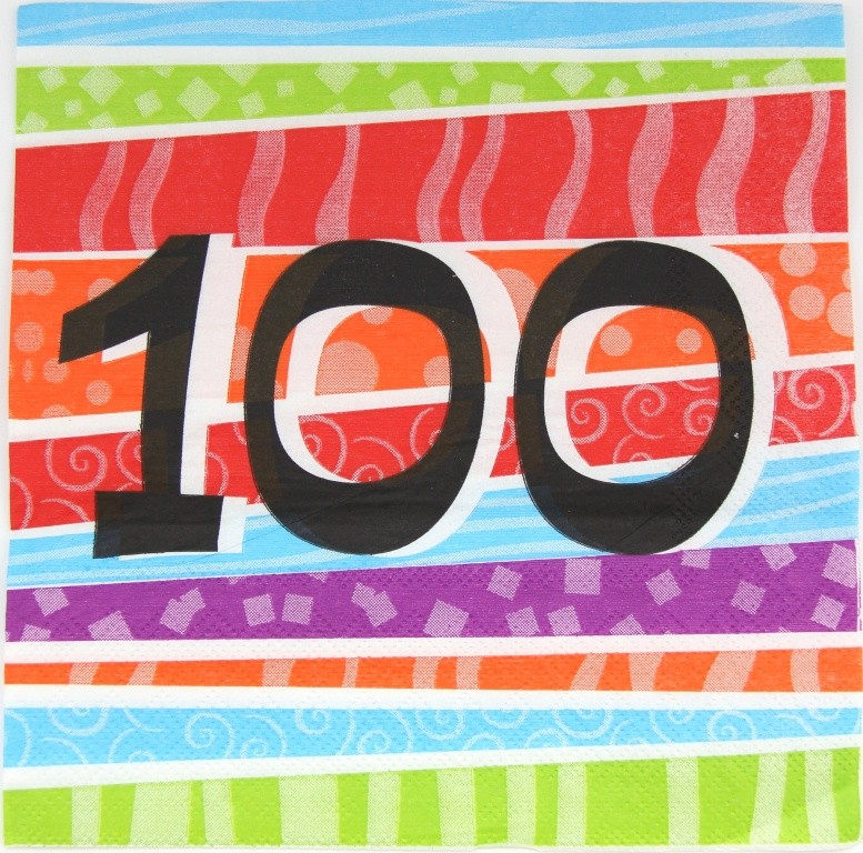 100TH BIRTHDAY PARTY NAPKINS COLOURFUL STRIPES