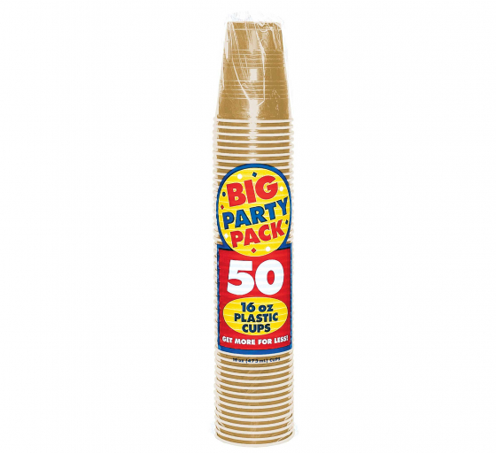 DISPOSABLE CUPS BULK - GOLD - PACK OF 50