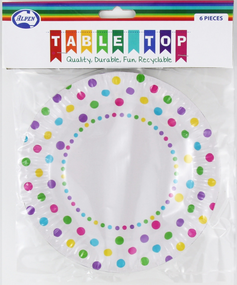 RAINBOW POLKA DOT DESIGN PAPER LUNCH PLATES PACK OF 6