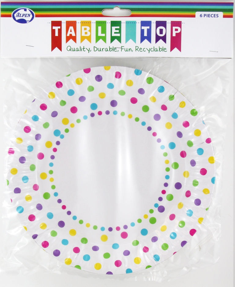 RAINBOW POLKA DOT DESIGN PAPER DINNER PLATES PACK OF 6