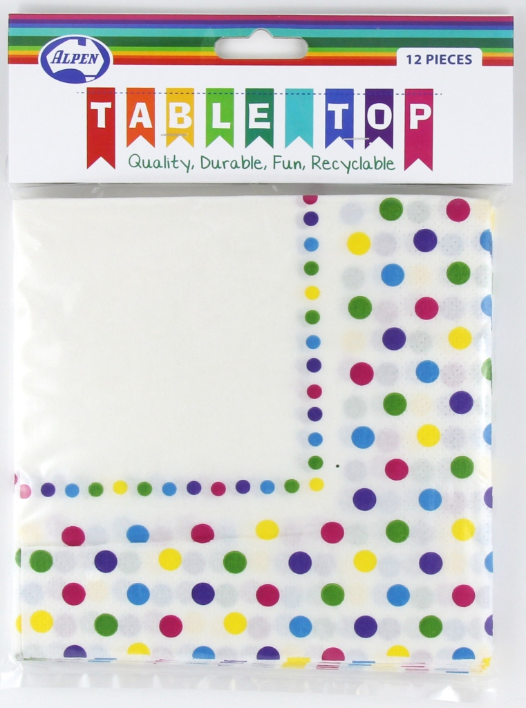 RAINBOW POLKA DOT DESIGN PAPER LUNCH NAPKINS PACK OF 12