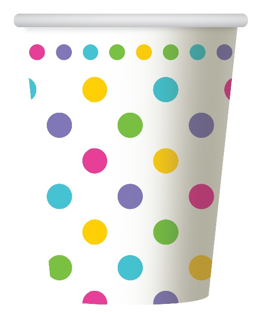 RAINBOW POLKA DOT DESIGN PAPER CUPS PACK OF 6