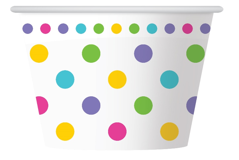 RAINBOW POLKA DOT DESIGN PAPER ICE CREAM CUPS PACK OF 6