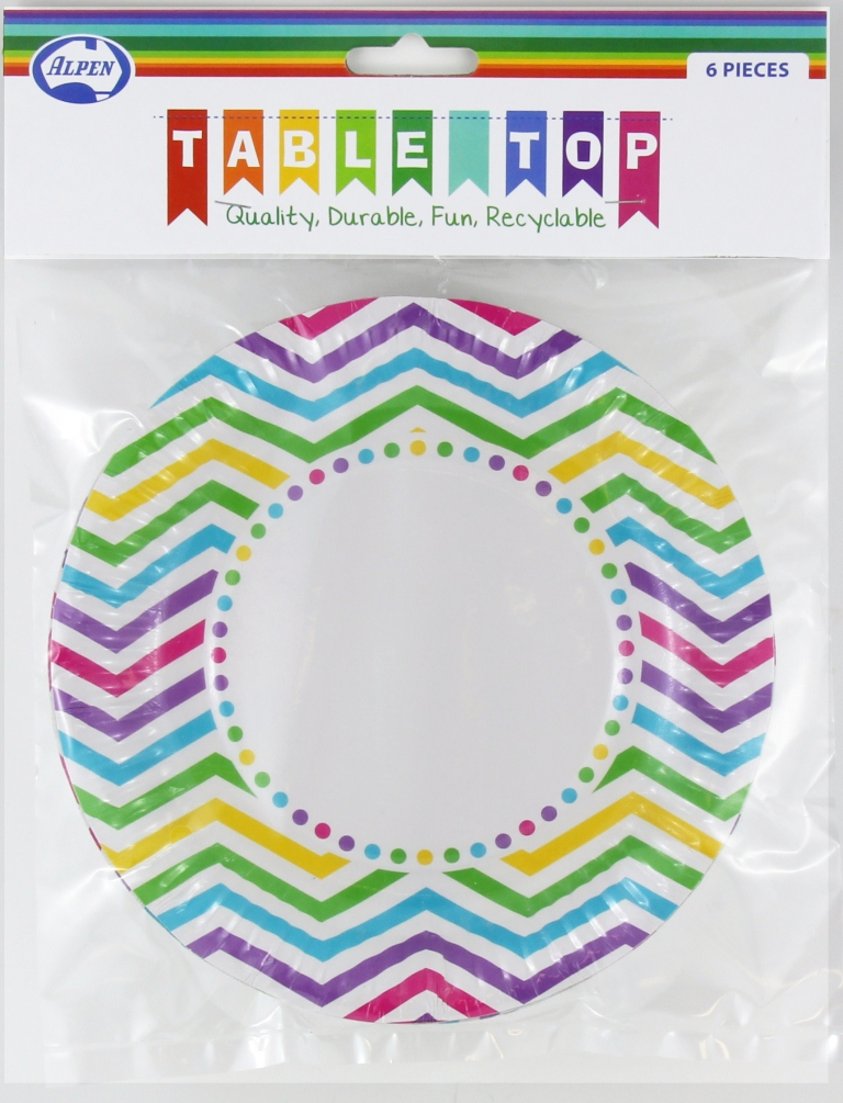 RAINBOW CHEVRON DESIGN PAPER LUNCH PLATES PACK OF 6