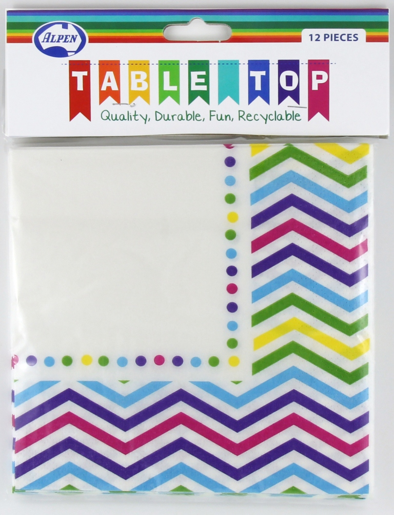 RAINBOW CHEVRON DESIGN PAPER LUNCH NAPKINS PACK OF 12