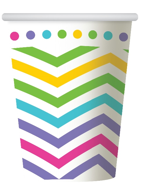 RAINBOW CHEVRON DESIGN PAPER CUPS PACK OF 6