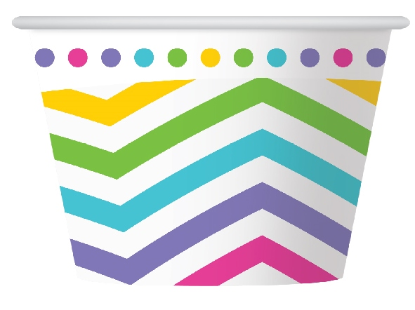 RAINBOW CHEVRON DESIGN PAPER ICE CREAM CUPS PACK OF 6