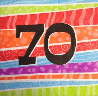 70TH BIRTHDAY PARTY NAPKINS COLOURFUL STRIPES