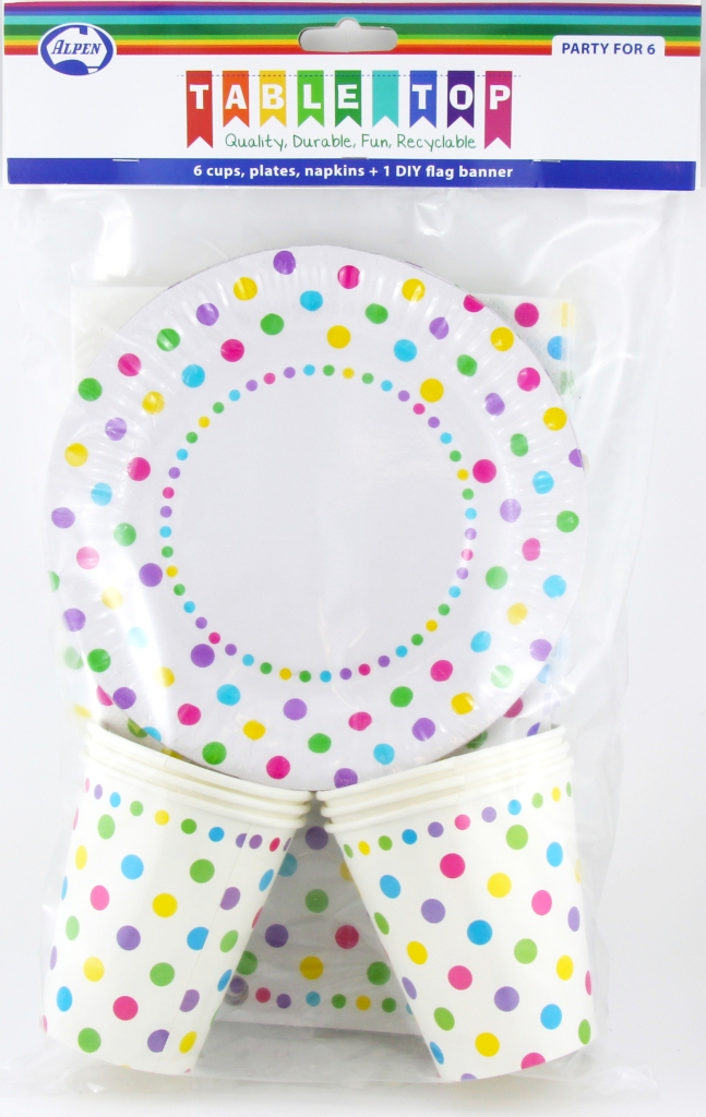 RAINBOW POLKA DOT DESIGN PARTY PACK FOR 6