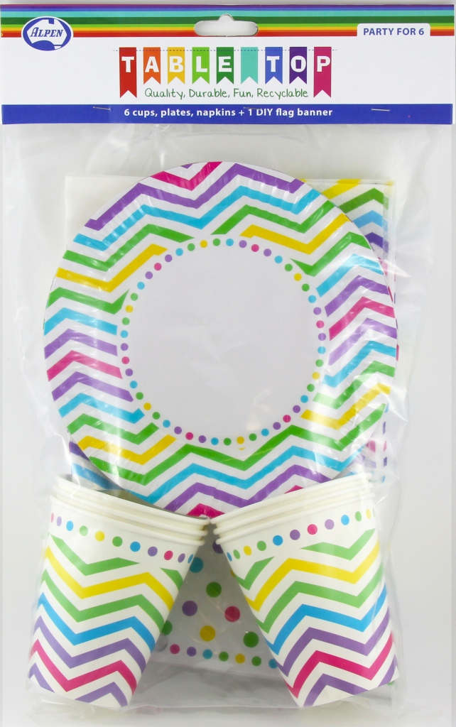 RAINBOW CHEVRON DESIGN PARTY PACK FOR 6