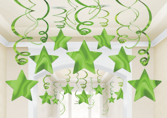 STAR HANGING SWIRL DECORATION KIWI GREEN PACK OF 30