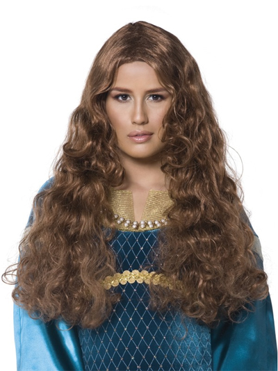 Image of Maid Marion Wig  Long Brown & Wavy