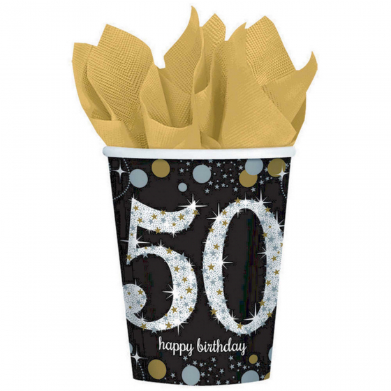 50TH BIRTHDAY CUPS SPARKLING CELEBRATION - PACK OF 8