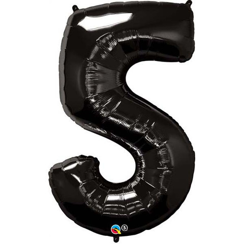 FOIL BALLOON SUPER SHAPE - NUMBER 5 BLACK