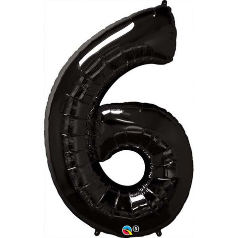 FOIL BALLOON SUPER SHAPE - NUMBER 6 BLACK