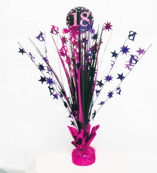 18TH BIRTHDAY WEIGHTED CENTREPIECE - PINK & BLACK
