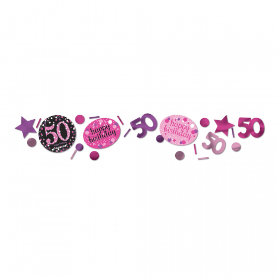 50TH BIRTHDAY SCATTERS SPARKLING - PINK, SILVER & BLACK